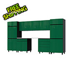Contur Cabinet 12.5' Premium Racing Green Garage Cabinet System with Stainless Steel Tops