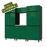 Contur Cabinet 7.5' Premium Racing Green Garage Cabinet System with Butcher Block Tops