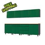 Contur Cabinet 10' Premium Racing Green Garage Cabinet System with Butcher Block Tops