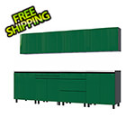 Contur Cabinet 10' Premium Racing Green Garage Cabinet System with Stainless Steel Tops