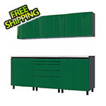 Contur Cabinet 7.5' Premium Racing Green Garage Cabinet System with Stainless Steel Tops