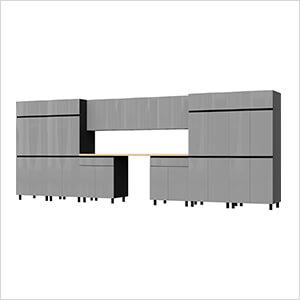 17.5' Premium Lithium Grey Garage Cabinet System with Butcher Block Tops