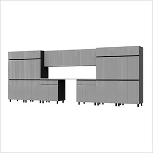 17.5' Premium Lithium Grey Garage Cabinet System with Stainless Steel Tops
