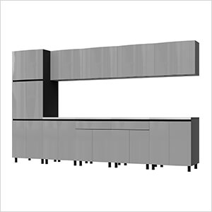 12.5' Premium Lithium Grey Garage Cabinet System with Stainless Steel Tops