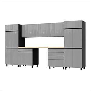12.5' Premium Lithium Grey Garage Cabinet System with Butcher Block Tops