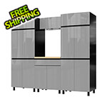 Contur Cabinet 7.5' Premium Lithium Grey Garage Cabinet System with Butcher Block Tops