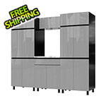 Contur Cabinet 7.5' Premium Lithium Grey Garage Cabinet System with Stainless Steel Tops