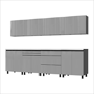 10' Premium Lithium Grey Garage Cabinet System with Stainless Steel Tops