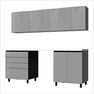 7.5' Premium Lithium Grey Garage Cabinet System with Stainless Steel Tops