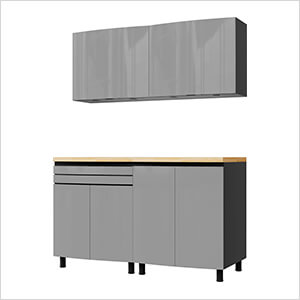 5' Premium Lithium Grey Garage Cabinet System with Butcher Block Tops