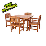 All Things Cedar 5-Piece Butterfly Extension Table Dining Chair Set with White Cushions