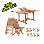 All Things Cedar 9-Piece Butterfly Extension Table Folding Chair Set with Blue Cushions