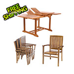All Things Cedar 5-Piece Butterfly Extension Table Stacking Chair Set with Green Cushions