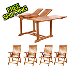 All Things Cedar 5-Piece Butterfly Extension Table Folding Arm-Chair Set