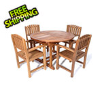 All Things Cedar 5-Piece Oval Extension Table Dining Chair Set with White Cushions