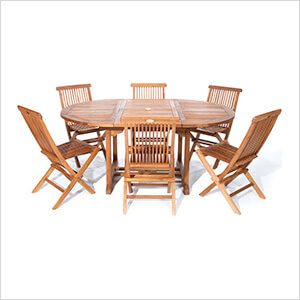 7-Piece Oval Extension Table Folding Chair Set