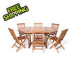 All Things Cedar 7-Piece Oval Extension Table Folding Chair Set with Blue Cushions