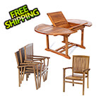All Things Cedar 5-Piece Oval Extension Table Stacking Chair Set with Blue Cushions