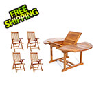 All Things Cedar 5-Piece Oval Extension Table Folding Arm-Chair Set