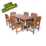 All Things Cedar 7-Piece Twin Butterfly Extension Table Dining Chair Set with Blue Cushions