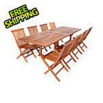 All Things Cedar 9-Piece Twin Butterfly Extension Table Folding Chair Set with Blue Cushions