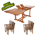 All Things Cedar 7-Piece Twin Butterfly Extension Table Stacking Chair Set with Blue Cushions