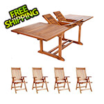 All Things Cedar 5-Piece Twin Butterfly Extension Table Folding Arm Chair Set