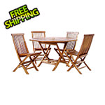 All Things Cedar 5-Piece Octagon Folding Table and Folding Chair Set with Blue Cushions