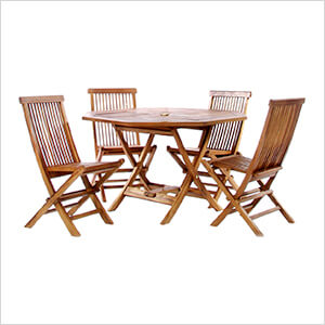 5-Piece Octagon Folding Table and Folding Chair Set with White Cushions