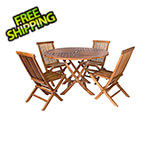 All Things Cedar 5-Piece Round Folding Table and Folding Chair Set with Blue Cushions