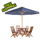 All Things Cedar 6-Piece Octagon Folding Table and Folding Chair Set with Blue Umbrella