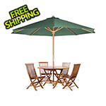 All Things Cedar 6-Piece Octagon Folding Table and Folding Chair Set with Green Umbrella