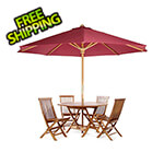 All Things Cedar 6-Piece Octagon Folding Table and Folding Chair Set with Red Umbrella