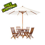 All Things Cedar 6-Piece Octagon Folding Table and Folding Chair Set with White Umbrella