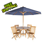 All Things Cedar 6-Piece Round Folding Table and Folding Chair Set with Blue Umbrella