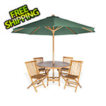 All Things Cedar 6-Piece Round Folding Table and Folding Chair Set with Green Umbrella
