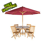 All Things Cedar 6-Piece Round Folding Table and Folding Chair Set with Red Umbrella