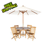 All Things Cedar 6-Piece Round Folding Table and Folding Chair Set with White Umbrella