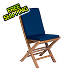 All Things Cedar Folding Chair Set with Blue Cushions