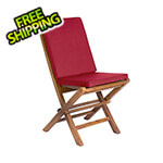 All Things Cedar Folding Chair Set with Red Cushions