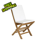 All Things Cedar Folding Chair Set with White Cushions