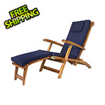 All Things Cedar 5-Position Steamer Chair with Blue Cushions
