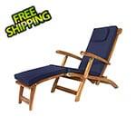 All Things Cedar 5-Position Steamer Chair with Blue Cushions