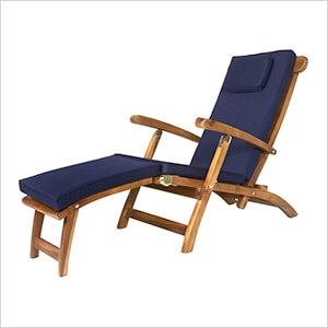 5-Position Steamer Chair with Blue Cushions