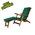 All Things Cedar 5-Position Steamer Chair with Green Cushions