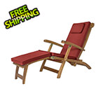 All Things Cedar 5-Position Steamer Chair with Red Cushions