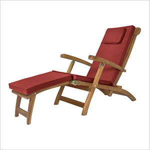 5-Position Steamer Chair with Red Cushions