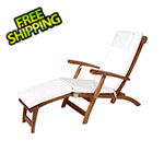 All Things Cedar 5-Position Steamer Chair with White Cushions