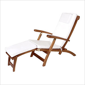 5-Position Steamer Chair with White Cushions