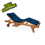 All Things Cedar Multi-Position Chaise Lounger with Blue Cushions